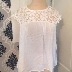 Tops - White Blouse with Lace Detailing Around Collar